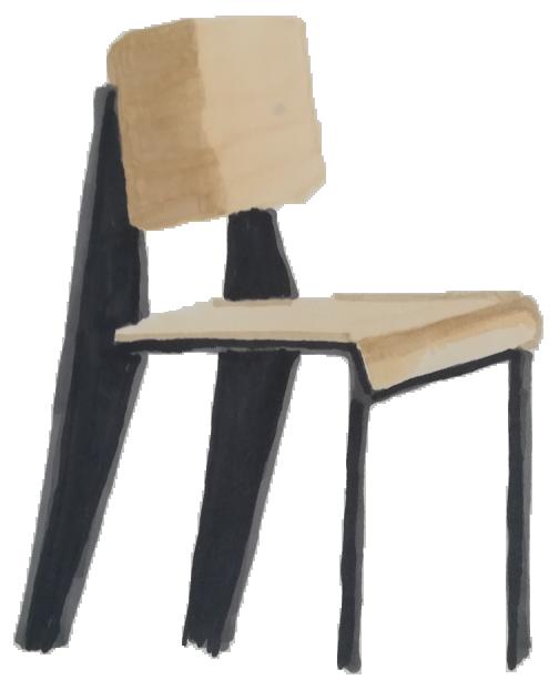 Dessin chaise standard Jean Prouvé 1934