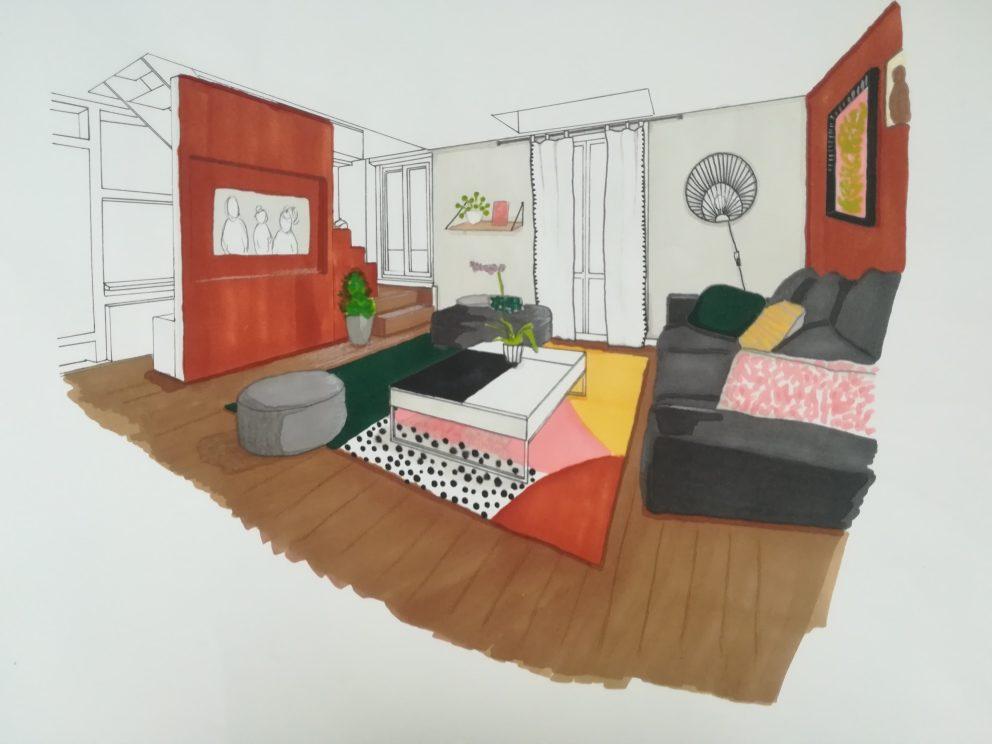 Projet décoration intérieur salon rouge crème