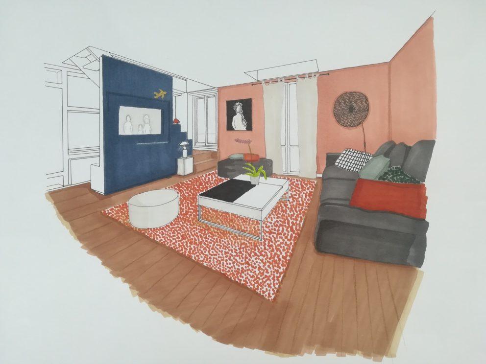 Projet décoration intérieur salon terracotta bleu nuit