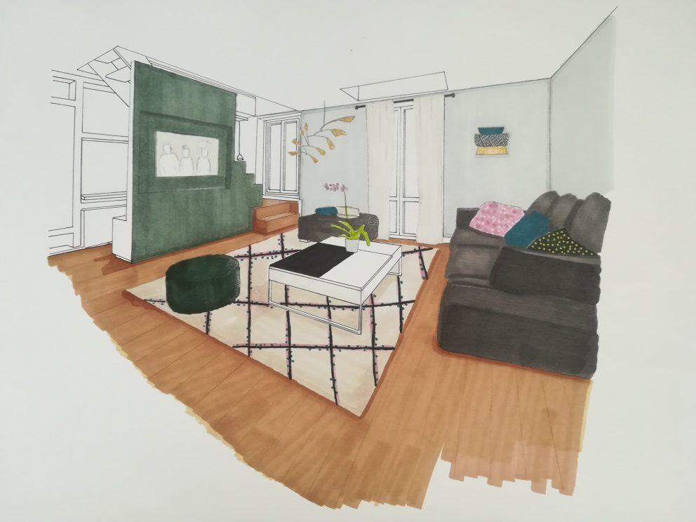 Projet décoration intérieur salon vert gris clair